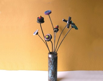 Pipe Flower Vase, Upcycled Metal Colorful Vessel, Coworker Gift, Industrial Vase, Table Top Decor, Dry Flower Vase, Repurposed Salvaged Pipe