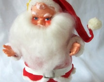 Vintage Santa Claus Red Soft Pillow Fabric Stuffed Doll Full White Beard Rubber Face Made in Japan