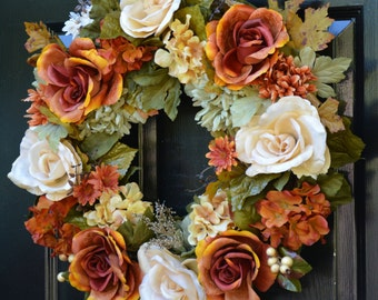 Fall Wreath- Limited Edition Fall Wreath- 22 inch- Ready to Ship- Fall Decorations- Silk Flower Wreath- Front Door Wreat