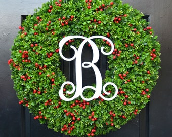 Berry Boxwood Monogram Christmas Wreath- Holiday Monogram Wreath- Christmas Boxwood Wreath-Weatherproof Berry Winter Wreath-Christmas Decor