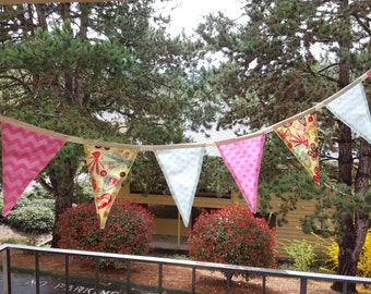 Pale Bunting, Teal and pink, Fabric Flags, re-usable Party decor, Flag banner
