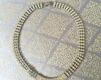 Short Rhinestone Choker Bib Necklace - Vintage 70s