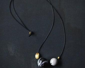 Geometric Necklace / Modern Jewelry / Gold Grey Black White Necklace /