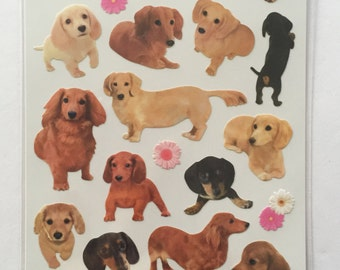 Cute Real Dogs / Puppies Photo Stickers From Japan - Dachshund