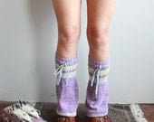 Purple Fair Isle Cotton Upcycled Recycled Eco Friendly Sweater Knit Flared Leg Warmers Legwarmers Boot Covers Accessories