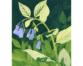 Mertensia reduction linocut