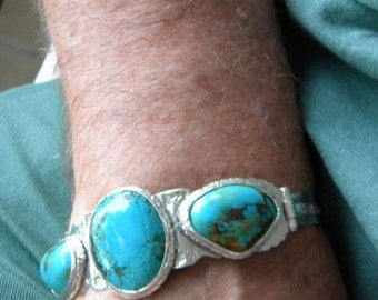 Men's turquoise bracelet in silver