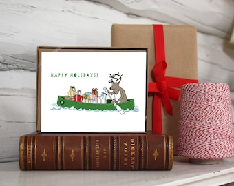 Holiday card set. Reindeer in a Canoe full of Gifts.
