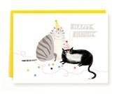Party Balls - Cat Birthday Card