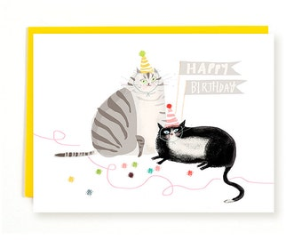 Party Balls - Cat Birthday Card