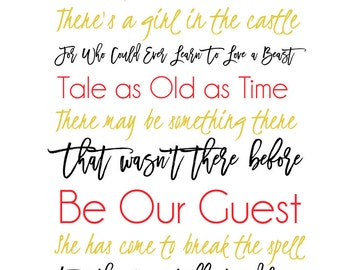 Beauty and The Beast Subway Art Printable Instant Download