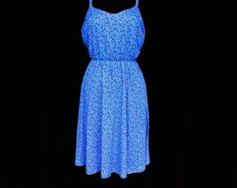 Vintage 70s Blue Calico Floral Sun Dress Sundress A Line Summer Boho Chic M Medium