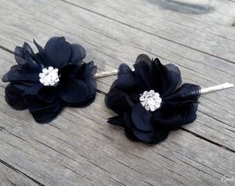 2 Bridal Black Chiffon Flower Hair Pins Rhinestone Crystals Floral Fascinator Wedding Bride Veil Accessory Gray Black Ivory Head Piece