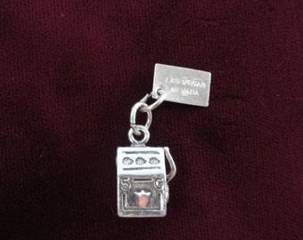 Slot Machine Charm, Las Vegas Nevada Charm, Gambling- Vintage Sterling Silver Charm Pendant, Travel Souvenir, Lucky Charm Bracelet