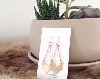 Chevron Earrings, Brass, Dangle