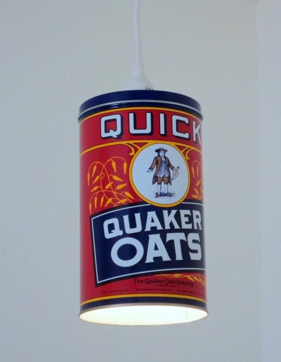 Red Quaker Oats printed tin plug-in pendant light