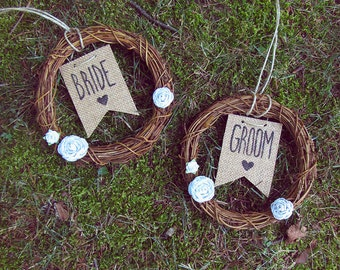 Wedding Chair Signs - Bride and Groom Chair Signs - Rustic Wedding Decor - Chair Wreaths - Boho Wedding Decor - White Floral Wreath - Burlap