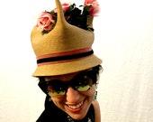 Vintage hat woven hat floral hat unique hat 60s/70s/80s hat