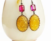 Frosted Glass Earrings Vintage Topaz Earrings Yellow Gold Crackle Earrings Statement Jewelry