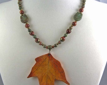 Fall Maple Leaf necklace | polymer clay leaf on beaded necklace | botanical jewelry