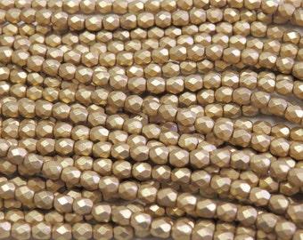 4mm Faceted Matte Metallic Gold Firepolish Glass Beads - Qty 50 (DW19)