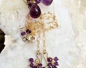 CUPID SALE xOx Amethyst Jewelry Set Necklace Earrings Wire Wrap Gemstone Cluster 14kt Gold Fill Purple Amethyst Earrings February Birthstone