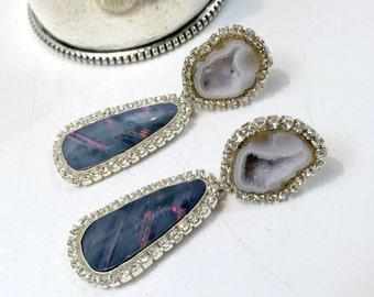 Black Opal Dangle Earrings, Australian Black Opal, Double Dangle Post Earring Tabasco Geode Earrings Diamond Look Swarovski - Katarina
