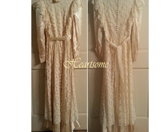 Dress 50s Victorian Style satin lace ruffles  ivory wedding bride formal long