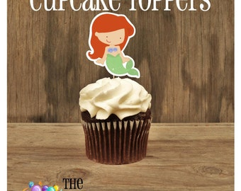 Princess Party - Set of 12 Ariel Cupcake Toppers by The Birthday House