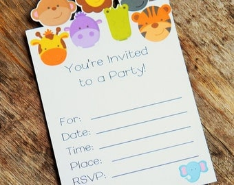 Jungle Friends Party - Set of 8 Jungle Friends Invitations by The Birthday House