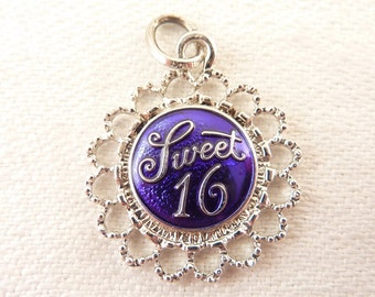 SALE --- Vintage Sterling and Blue Enamel Sweet Sixteen Charm
