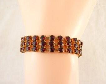 SALE --- Vintage Gold Tone Red Rhinestone Costume Bracelet