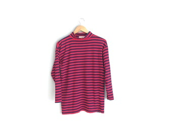 Size S // STRIPED MOCK TURTLENECK // Long Sleeve Tunic Top - Red & Navy Blue - Loose Fit - Vintage '80s.