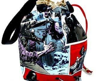 Sock Knitting Project Bag Hexipuff Small Crochet WIP Bag - Walking Dead Michonne