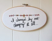 the Small Town hoop .. one of a kind, hand stitched, Pearl Jam embroidery