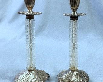 Sliverplate and Glass Candlesticks, Vintage 1940