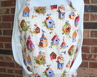 Plus Size Apron, Pretty Birdhouses, Pocket Apron, Kitchen Apron, Bib Apron, Spring Garden Apron, Mother's Day Apron, Kitchen Shower Apron
