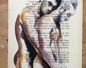 Loving Male Couple Embracing on Vintage Book Paper by Artist Brenden Sanborn