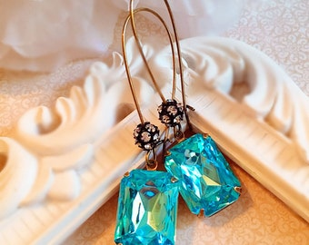 Art Deco Jewelry - Aqua Blue Earrings - Art Deco Earrings - Best Christmas Gift for Friend - MADELINE Aqua