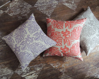 Jacobean Floral hand block printed taupe coral lavender antique white natural gray brown linen colorful home decor decorative pillow cover