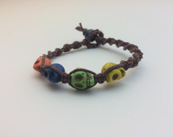 Spooky Skull Macrame Hemp Bracelet (0125)