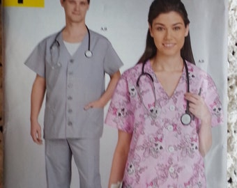 Simplicity A1310 MIsses Mens Scrub Top and Scrub Pants Pattern Mens and Womens Scrubs Sizes XSmall to Xlarge