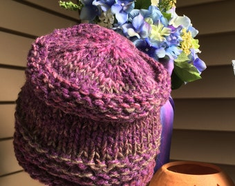 Child's bucket Hat Hand Knit Baby Multi colored-purple Hand knit
