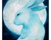 Gentle Ghost Rabbit Drifting Past the Moon // 11x14 art print // dream illustration