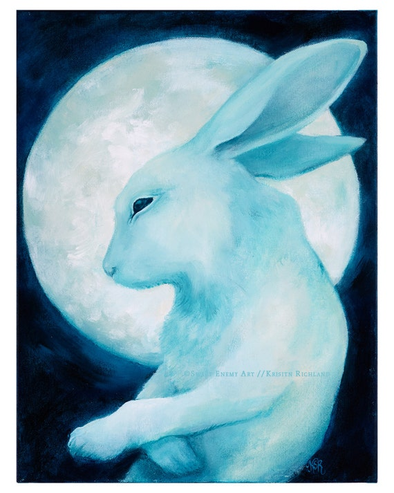 Gentle Ghost Rabbit Drifting Past the Moon // 11x14 art print // dream illustration