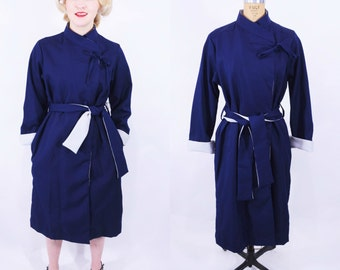 1980s raincoat | navy blue gray asymmetrical rain repellent NWT trench coat | vintage 80s trench