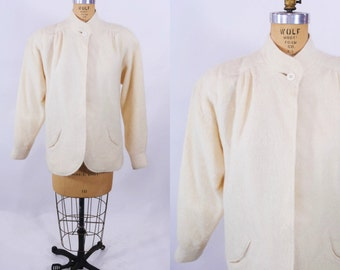 1980s jacket 80s vintage cream light wool swing jacket S/M