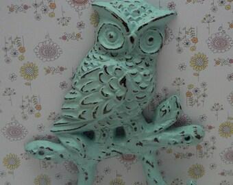 Owl Cast Iron Wall Hook Shabby Cottage Chic Wall Beach Blue Woodland Home Decor