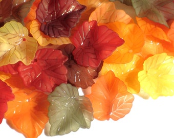 Frosted Lucite Acrylic Leaf Beads - Vintage Style Autumn Dreams - 24x25mm
