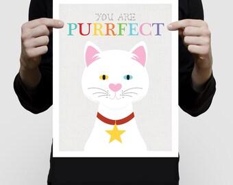 cat art print - you are purrfect artwork, cat lover gift, inspirational kids art, white kitten, nursery decor, illustration, being different